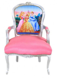 Casa Padrino Baroque Salon Chair Princess Pink / Silver - Limited Edition