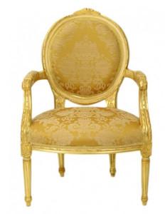 Casa Padrino luxury Baroque Medallion Salon chair Gold Pattern / Gold Mod2 - furniture antique style – Bild