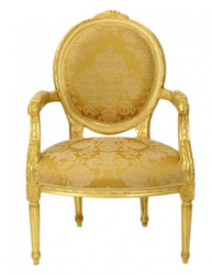 Casa Padrino luxury Baroque Medallion Salon chair Gold Pattern / Gold Mod2 - furniture antique style