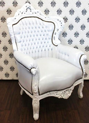 "Casa Padrino Baroque Armchair ""King"" White / white leather look with bling bling diamante"