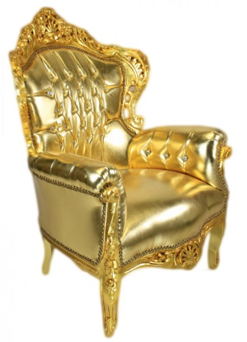 Casa padrino baroque armchair king gold gold leather for Sessel barock