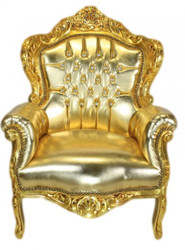 "Casa Padrino Baroque Armchair ""King"" gold / gold leather look with bling bling diamante"