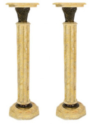 Casa Padrino Barock Marmor Säulen Set Creme Höhe - Marmor Säule (2 Stk)