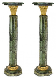 Casa Padrino Barock Marmor Säulen Set Grün / Gold Höhe - Marmor Säule (2 Stk)