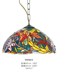 Casa Padrino Tiffany Hanging Lamp 40 cm Yellow / Green / Red - Glass mosaic ceiling lamp fixture baroque restaurant lighting