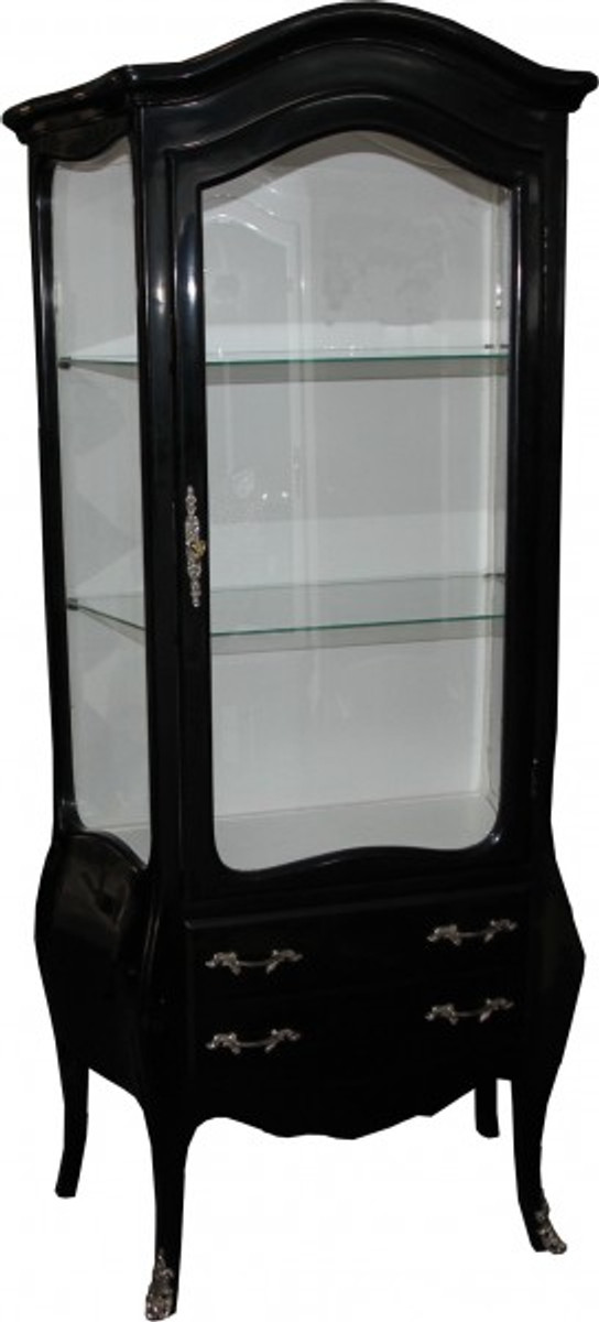 casa padrino barock vitrine in schwarz weiss mit silbernen. Black Bedroom Furniture Sets. Home Design Ideas