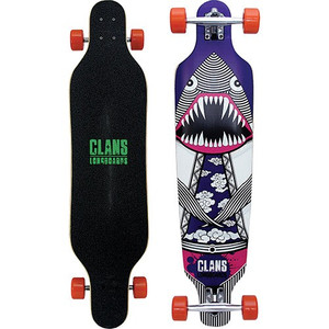 Clans Beginner Longboard Freeride Cruiser Komplettboard Flying Dinoshark Purple 40.0 x 9.5 inch