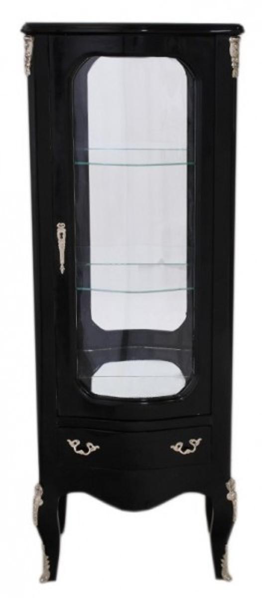 Casa padrino barock vitrine schwarz 130 cm vitrinenschrank wohnzimmerschrank vitrinen barock - Wohnzimmerschrank schwarz ...