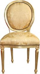 Casa Padrino Barock Esszimmer Stuhl Gold Blumenmuster / Gold  Mod2 Rund