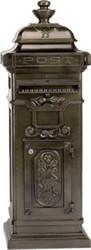 Casa Padrino Standbriefkasten Antik Jugendstil Bronzefarben Briefkasten Postkasten Mod4 - Säulenbriefkasten - schwere Ausführung!