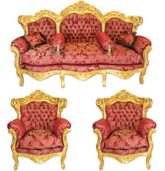 Casa Padrino Baroque Living Set Bordeaux Bouquet pattern / Gold - 3er sofa + 2 armchairs