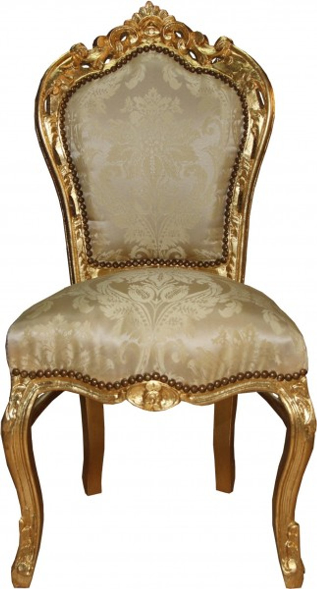Casa Padrino Baroque Dinner Chair Cream Pattern / Gold   Baroque Furniture  Antique Style