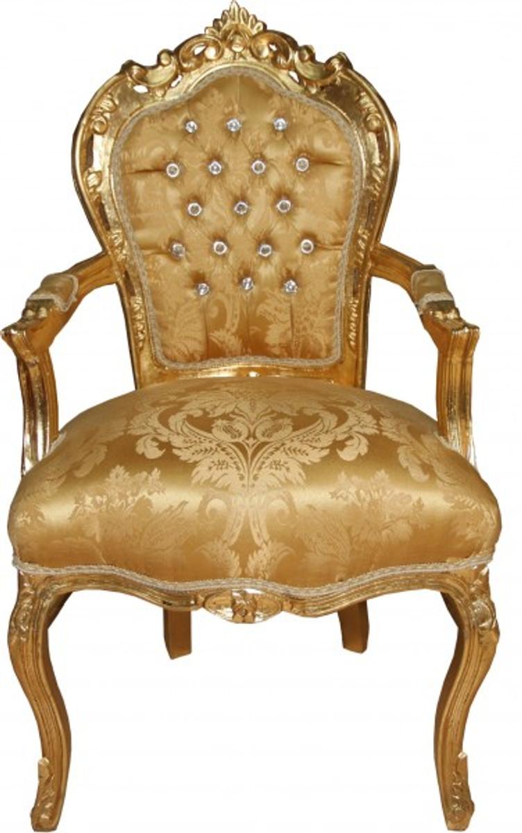 Casa Padrino Barock Esszimmerstuhl Mit Armlehnen Gold Barock Muster Gold Mit Bling Bling Glitzersteinen Antik Look
