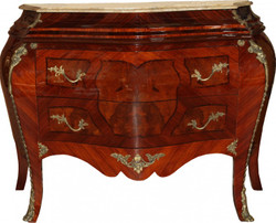 Casa Padrino Baroque Commode brown with a cream marble top 3 drawers Mod3 - Empire Chest