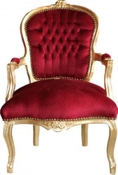Casa Padrino Baroque salon chair Bordeaux / Gold