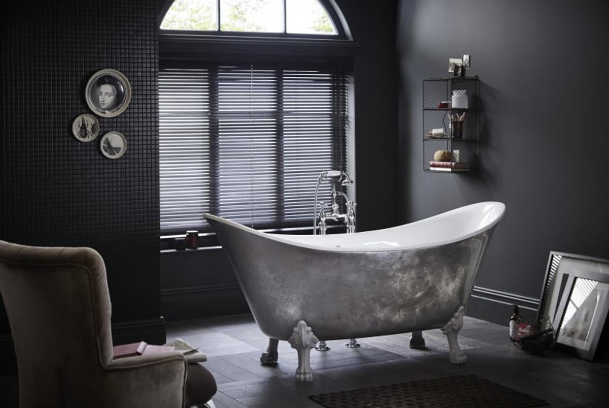 Casa Padrino Jugendstil Badewanne Freistehend Edelstahleffekt Modell He Lyd  1730mm   Freistehende Retro Antik Badewanne Barock Stil