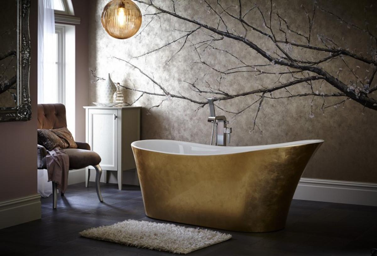 Casa Padrino Art Deco Badewanne Freistehend Gold Modell He Hol 1710mm    Freistehende Retro Antik Jugendstil Badewanne