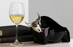 Casa Padrino bull Toro ceramic black / silver H 18 cm, L 30 cm - Modern sculpture