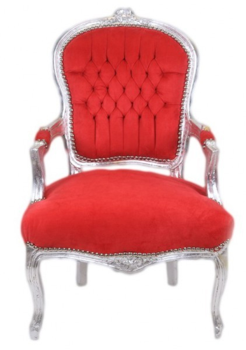 Casa padrino barock salon stuhl rot silber antik for Design stuhl rot