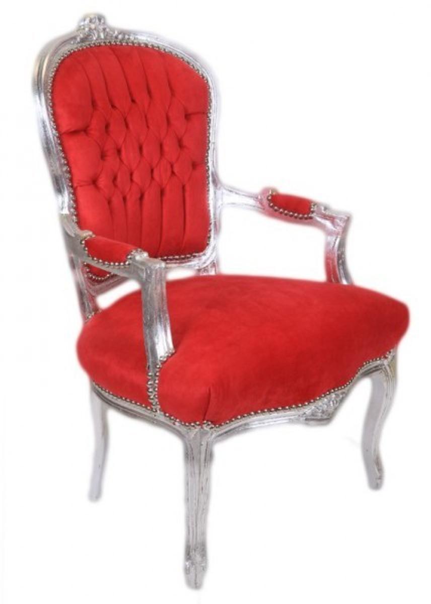 casa padrino barock salon stuhl rot silber antik design m bel st hle barock st hle salon. Black Bedroom Furniture Sets. Home Design Ideas