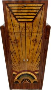 Casa Padrino Art Deco Barschrank Vogelaugenahorn / Mahagony - Handgefertigt aus Massivholz - Zimmer Bar Minibar Whiskey Schrank – Bild 1