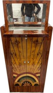 Casa Padrino Art Deco Barschrank Vogelaugenahorn / Mahagony - Handgefertigt aus Massivholz - Zimmer Bar Minibar Whiskey Schrank – Bild 3