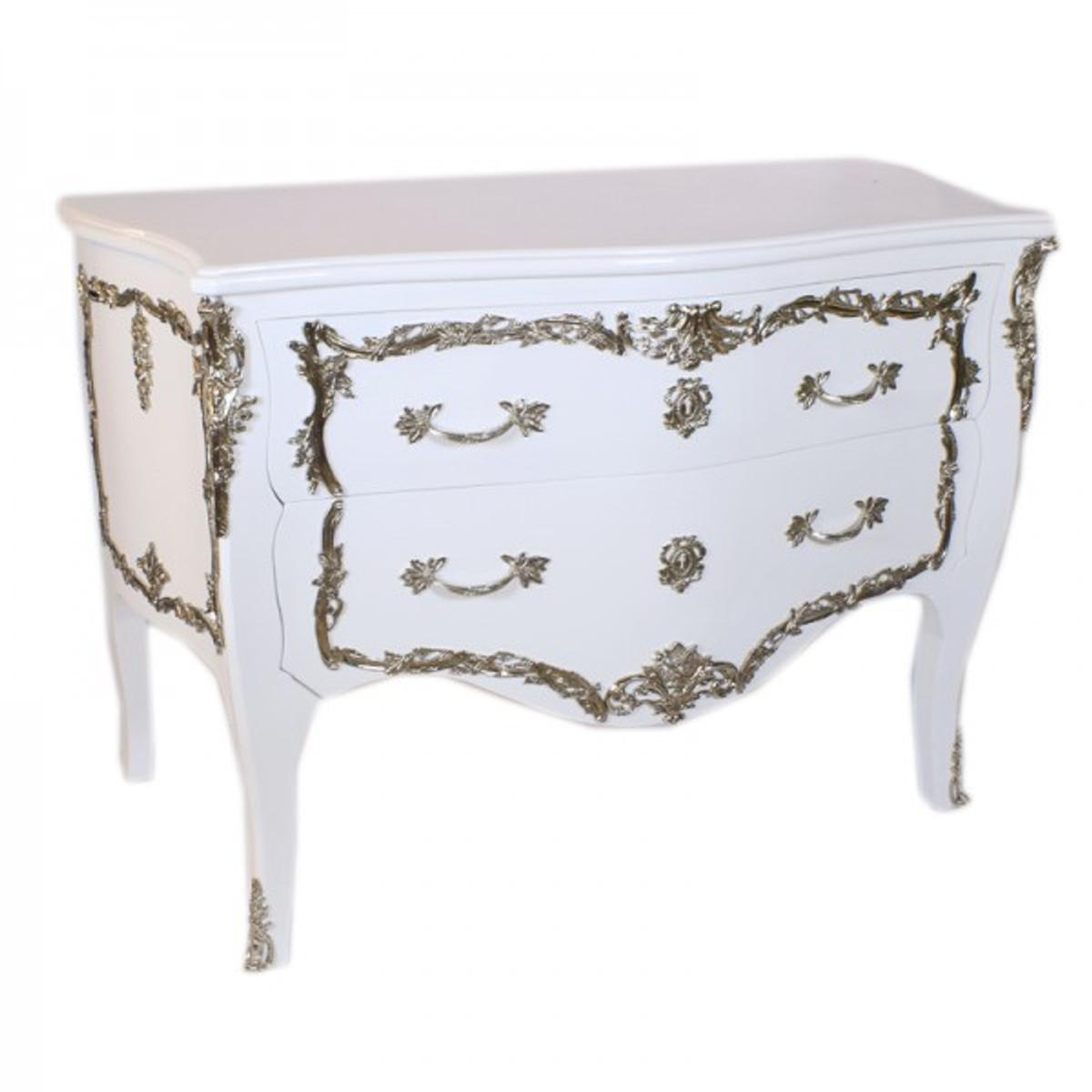 Casa padrino barock kommode wei hochglanz silber 130 cm for Design couchtisch bowl highgloss weiss 90cm