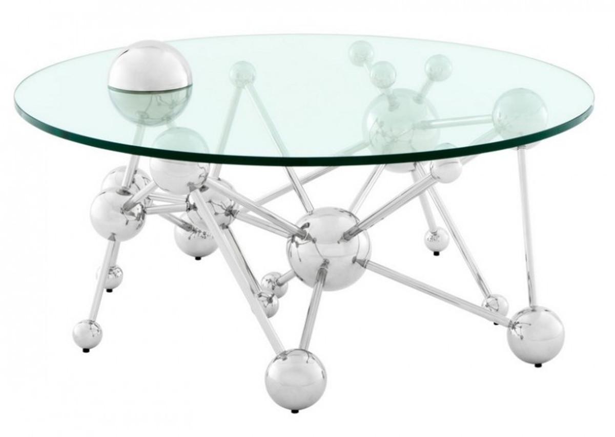 casa padrino luxus couchtisch edelstahl glas nickel. Black Bedroom Furniture Sets. Home Design Ideas