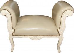Casa Padrino Baroque stool Stool cream leather look / cream - Bench
