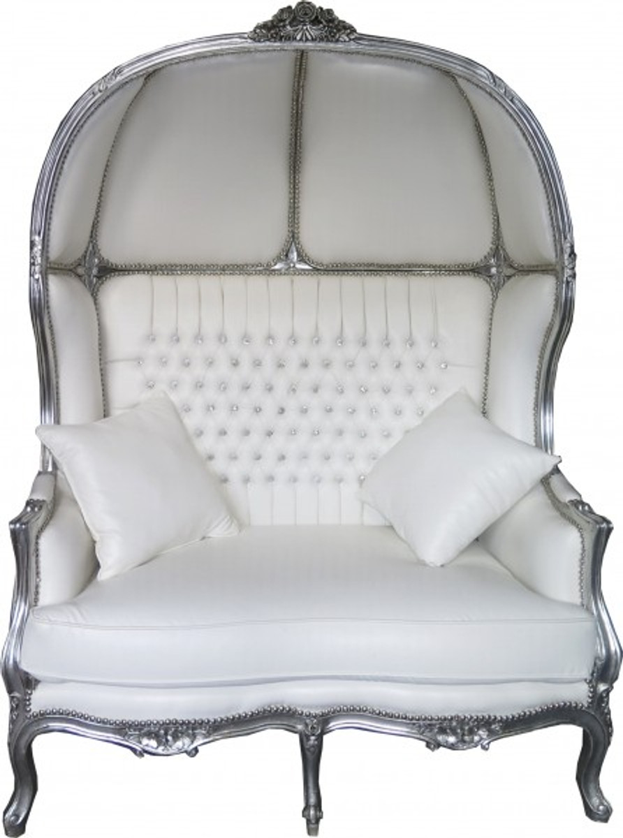 casa padrino baroque 2er balloon sofa white leather look silver living room couch furniture