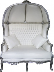 Casa Padrino Baroque 2er balloon sofa white leather look / Silver - Living Room Couch Furniture Lounge Wedding