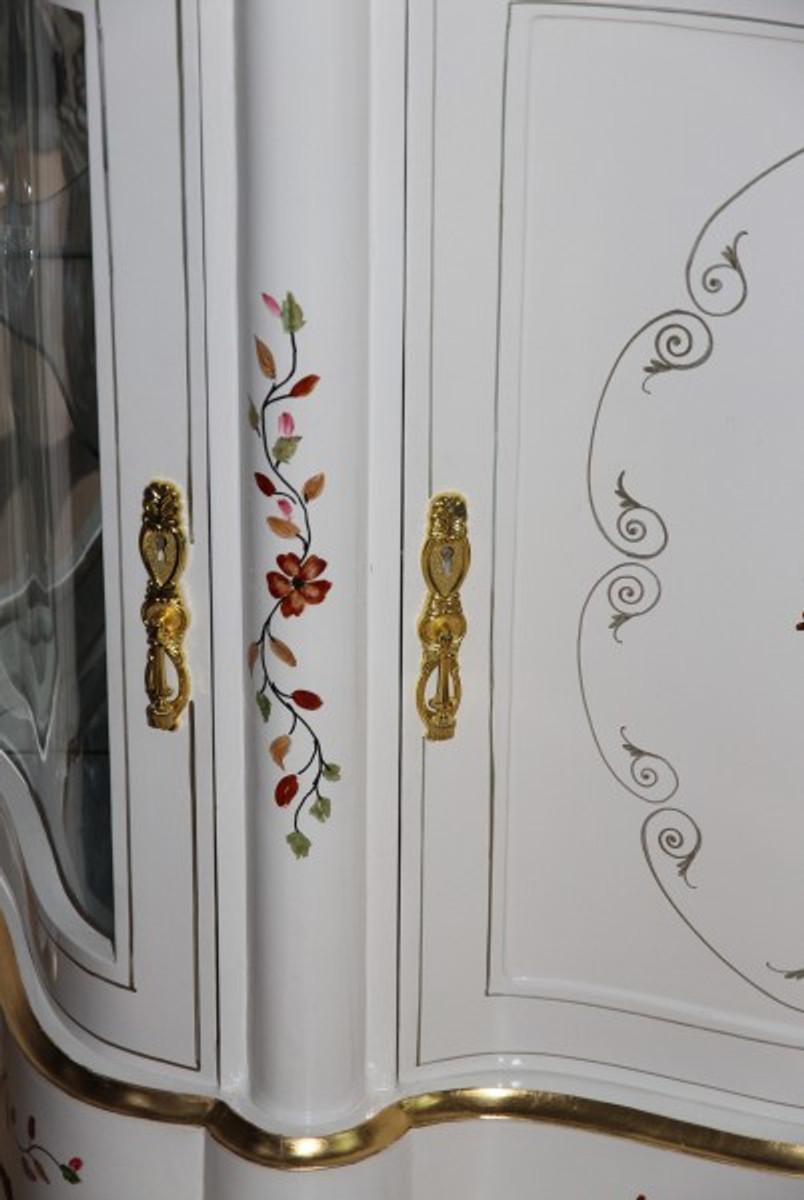 Casa Padrino Luxus Barock Schrank mit Spiegelkonsole Weiß Handbemalt ...