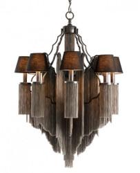 Casa Padrino Baroque luxury chains Chandelier 8-burner antique style Gunmetal Finish - Furniture Chandelier Chandelier pendant light hanging lamp
