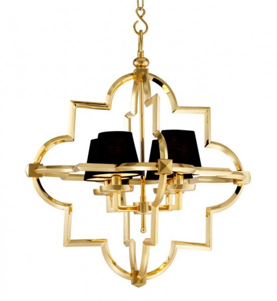 Casa Padrino Barock Luxus Kronleuchter 4 Flammig Jugendstil Gold / Schwarz    Möbel Lüster Leuchter Hängeleuchte Hängelampe