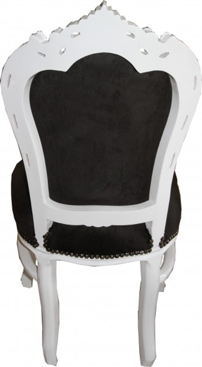 Casa Padrino Barock Esszimmer Stuhl Schwarz Weiß Möbel Antik