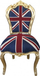 Casa Padrino Baroque Dinner Chair Union Jack / Gold - furniture antique style