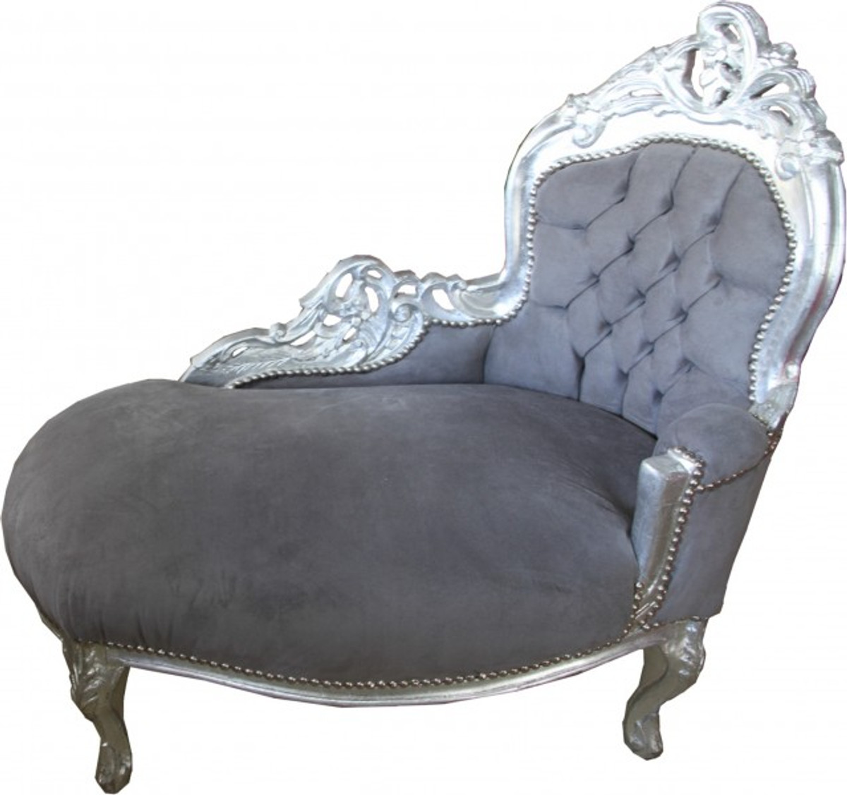 Casa padrino baroque kids chaise lounge grey silver for Chaise baroque avec accoudoir