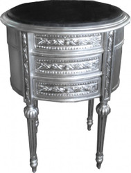 Casa Padrino Baroque Commode silver with marble top H 70 cm, W 52 cm - Bedside console