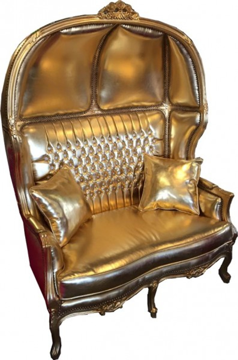 casa padrino baroque 2er balloon sofa gold leather look gold with bling bling rhinestones. Black Bedroom Furniture Sets. Home Design Ideas