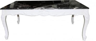 Casa Padrino Barock Couchtisch Weiß Mit Marmorplatte 120 X 80 Cm