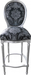 Casa Padrino Baroque chair black pattern / silver - high chair bar stool bar stool - Furniture Club