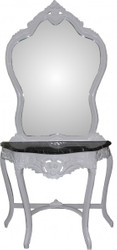 Casa Padrino Baroque mirror console with marble top white Mod2 - antique look