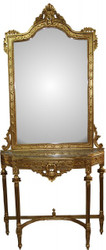 Casa Padrino Baroque mirror console in gold with marble top Mod3 - antique look