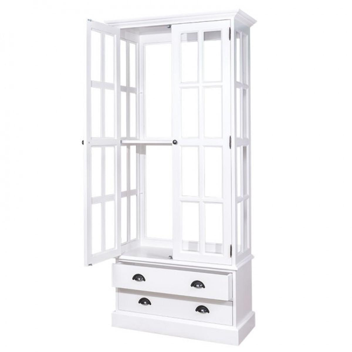 Casa Padrino Landhaus Vitrinen Schrank Küchenschrank Weiß 90 X H 200 Cm    Esszimmer Schrank Wohnzimmer