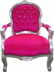Casa Padrino Barock Kinder Stuhl Pink / Silber mit Bling Bling Glitzersteinen - Kindermöbel