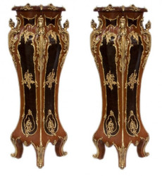 Casa Padrino Luxus Barock Säulen Set Mahagonie / Gold  (2 Stk) H 160 cm x B 40 x L 40 cm