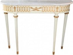 Casa Padrino Baroque console table with a marble top, antique style cream / gold / white 112 cm - Baroque Console - Limited Edition