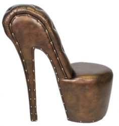 Casa Padrino High Heel armchair with decorative stones Bronze Luxury Design - Designer armchairs - Furniture club - Shoe chair armchair
