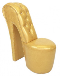Casa Padrino High Heel armchair with decorative stones Gold Luxury Design - Designer armchairs - Furniture club - Shoe chair armchair