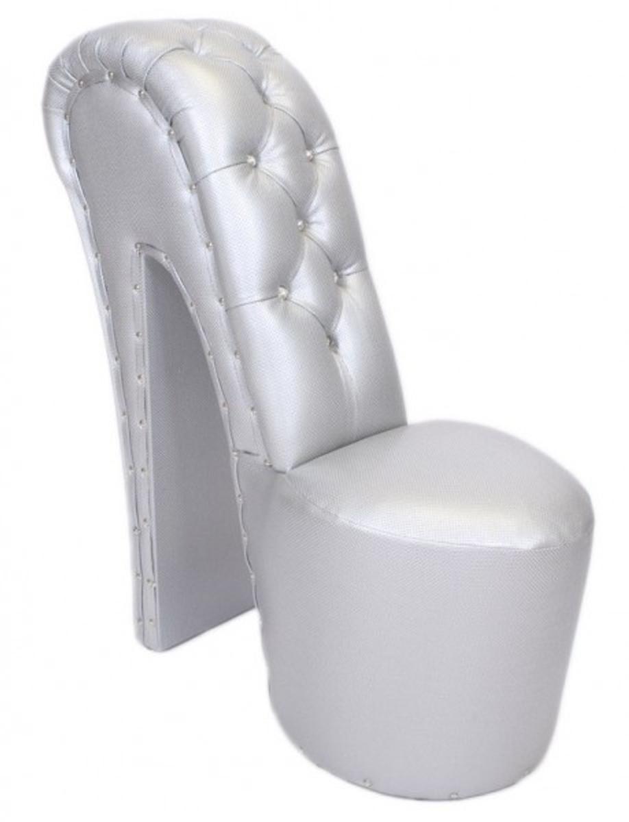 Casa Padrino High Heel Armchair With Decorative Stones Silver Luxury